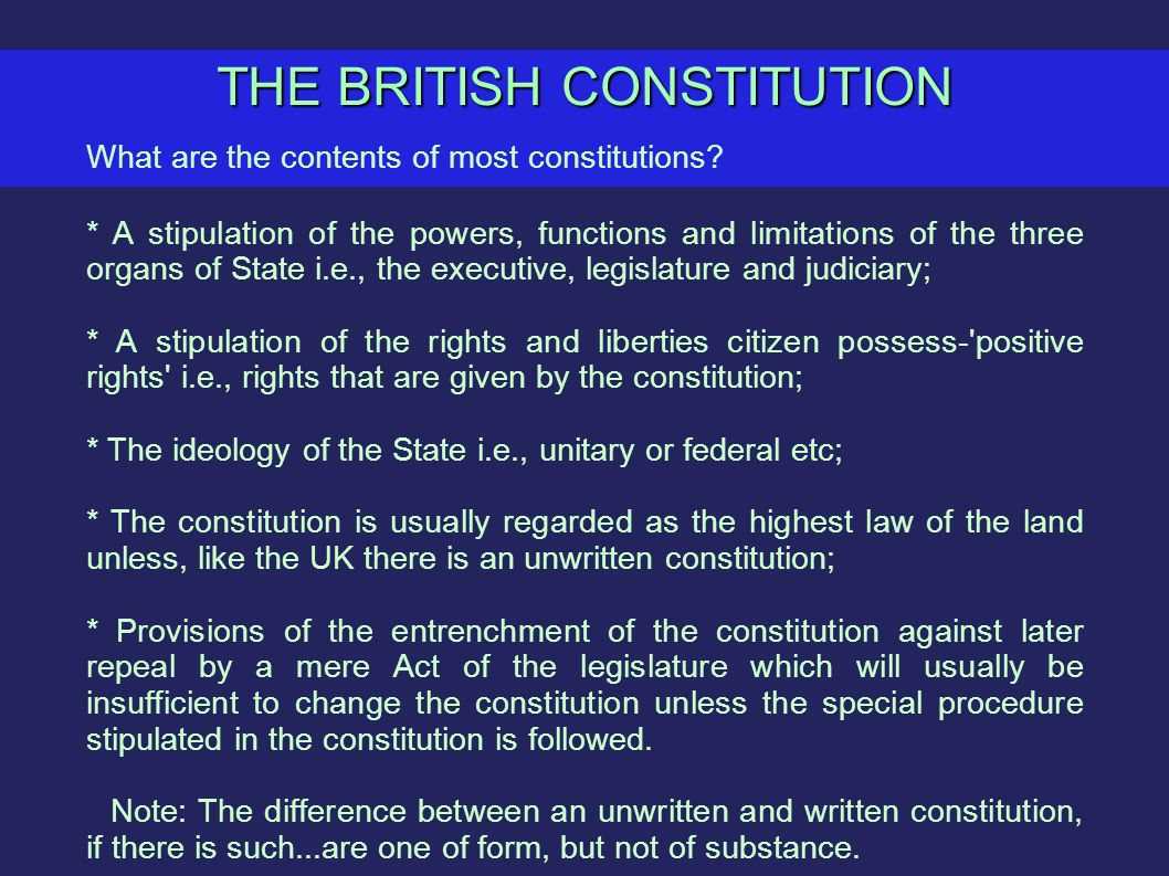 differences between written and unwritten law View test prep - differences between written & unwritten constitution from law facult lw224 at mara university of technology question 5: the difference between a written constitution and unwritten.