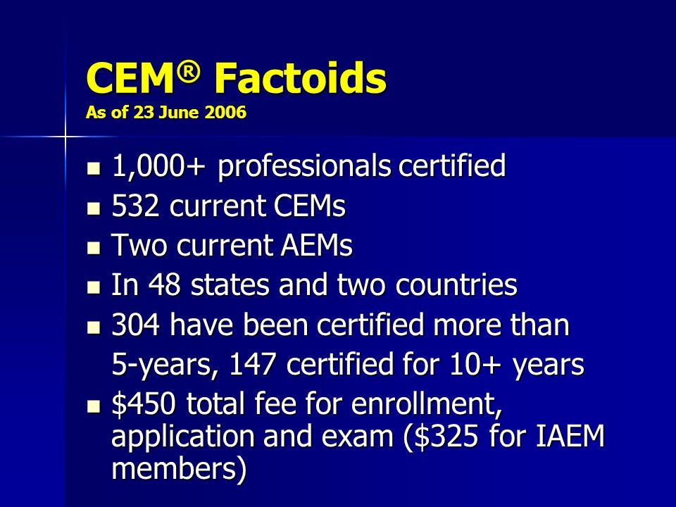 CEM® Factoids As of 23 June 2006