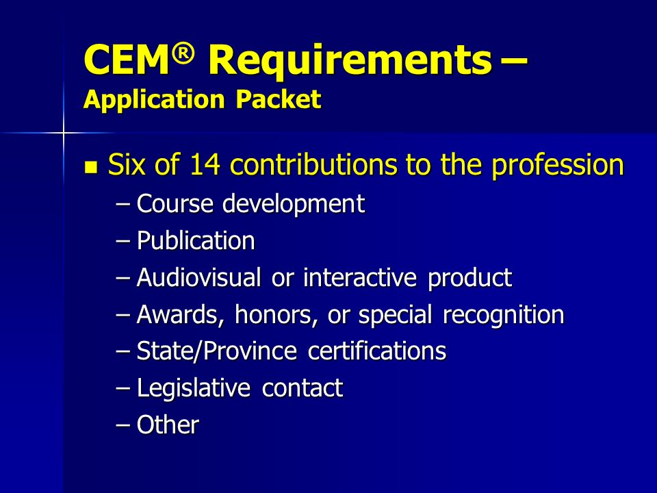 CEM® Requirements – Application Packet
