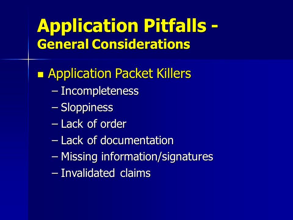 Application Pitfalls - General Considerations