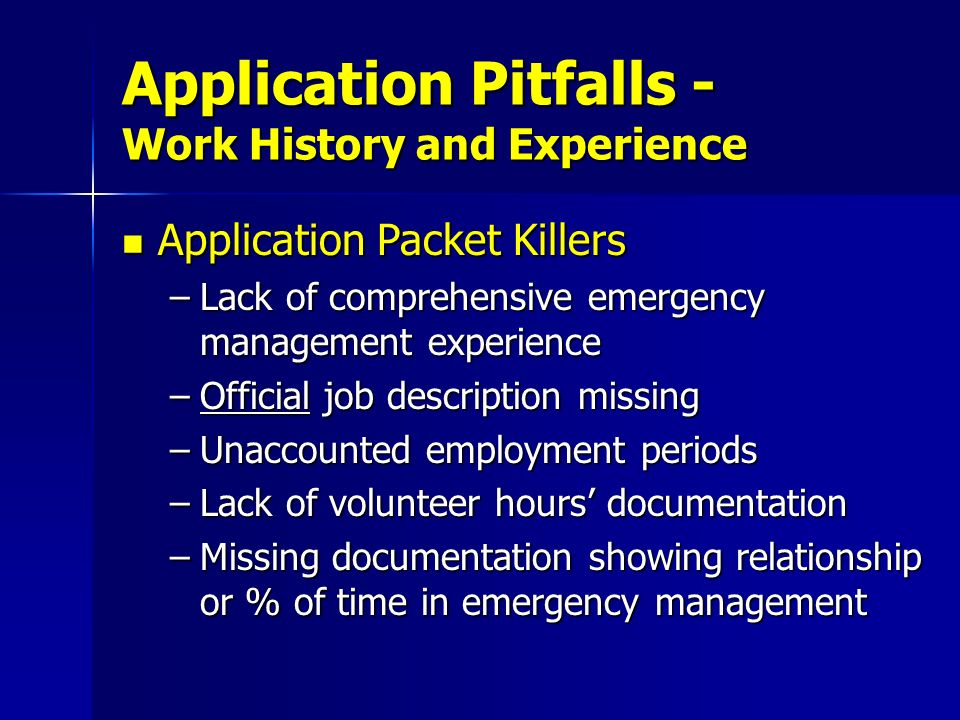 Application Pitfalls - Work History and Experience