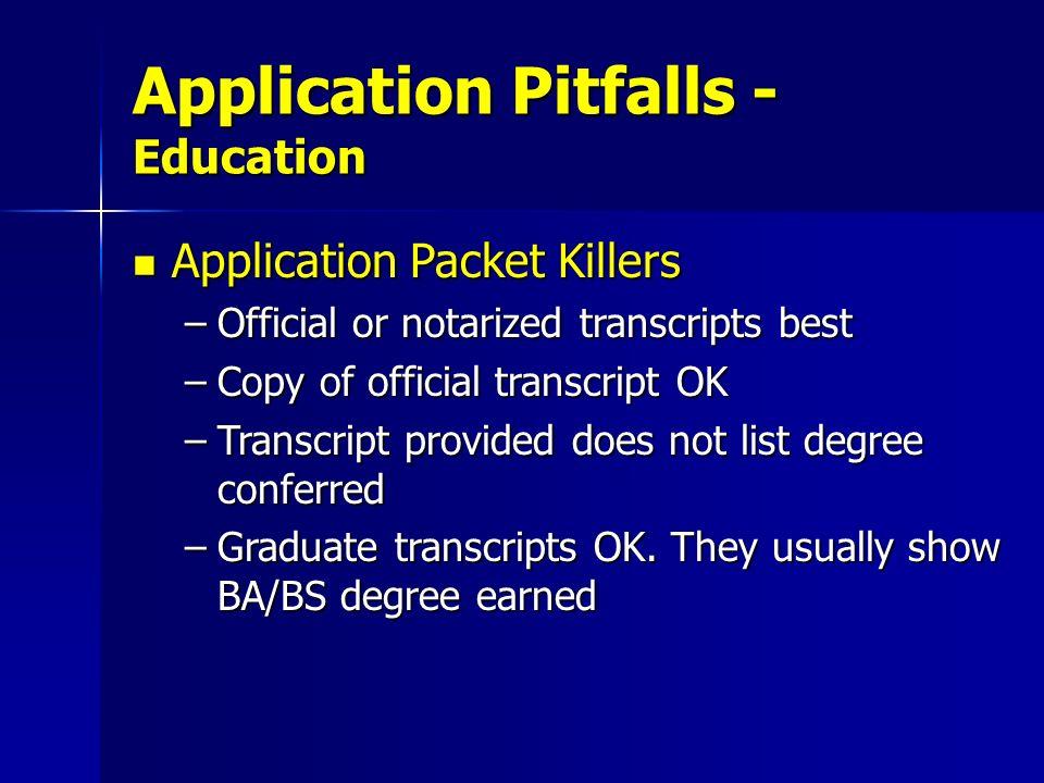 Application Pitfalls - Education
