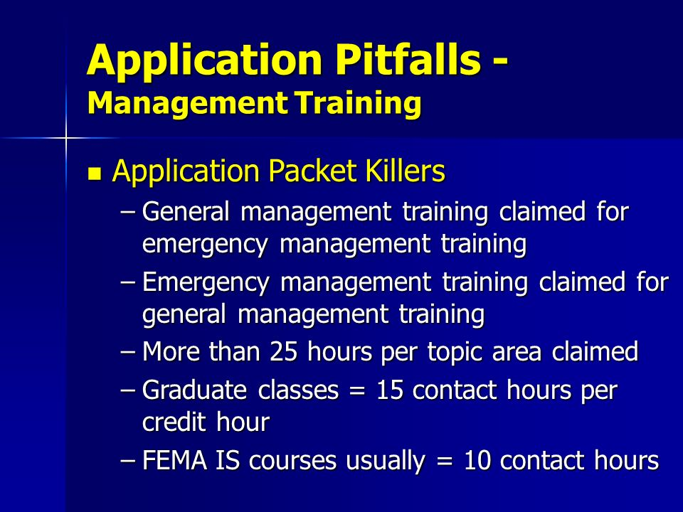 Application Pitfalls - Management Training