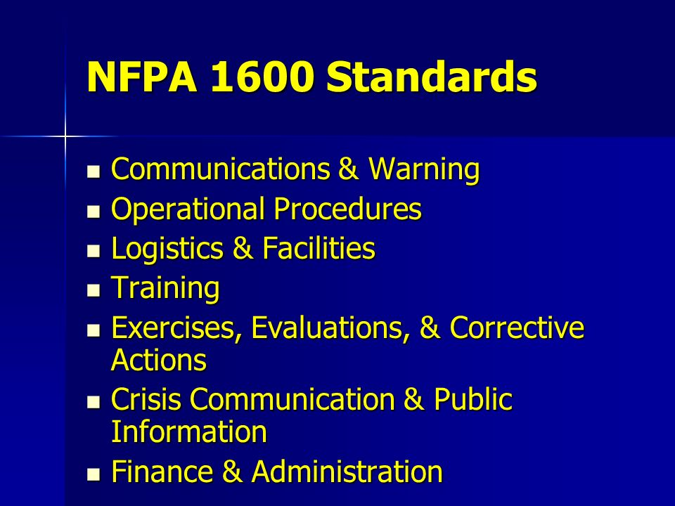 NFPA 1600 Standards Communications & Warning Operational Procedures