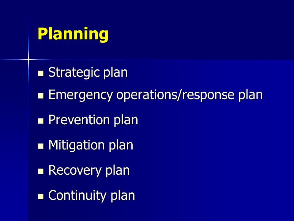 Planning Strategic plan Emergency operations/response plan