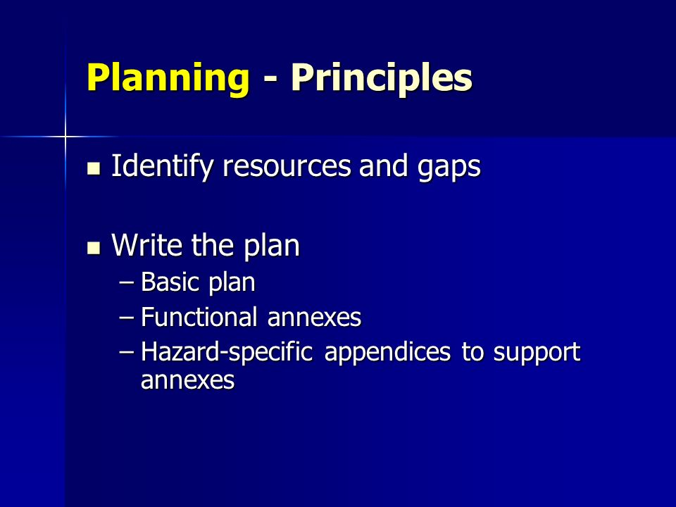 Planning - Principles Identify resources and gaps Write the plan