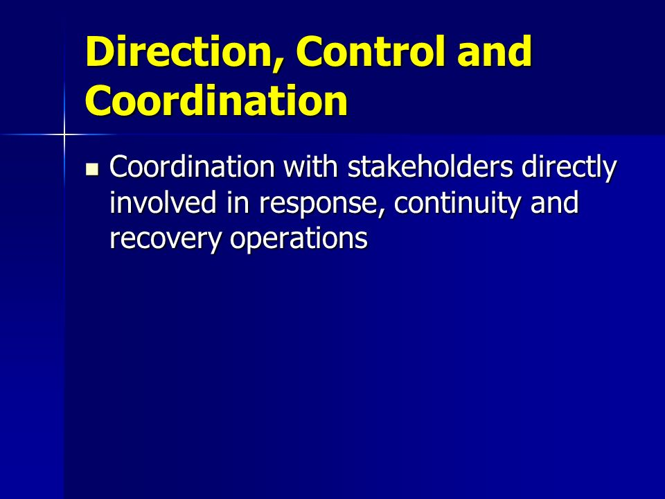 Direction, Control and Coordination