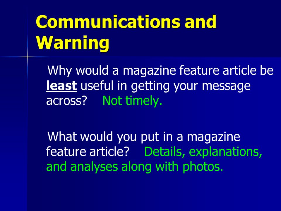 Communications and Warning