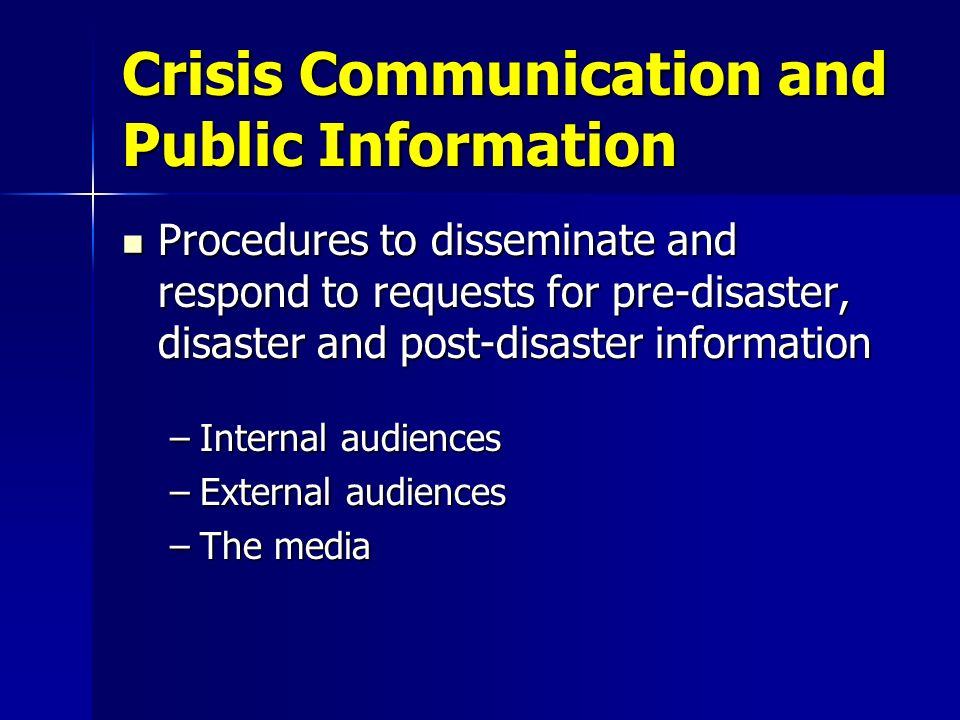 Crisis Communication and Public Information
