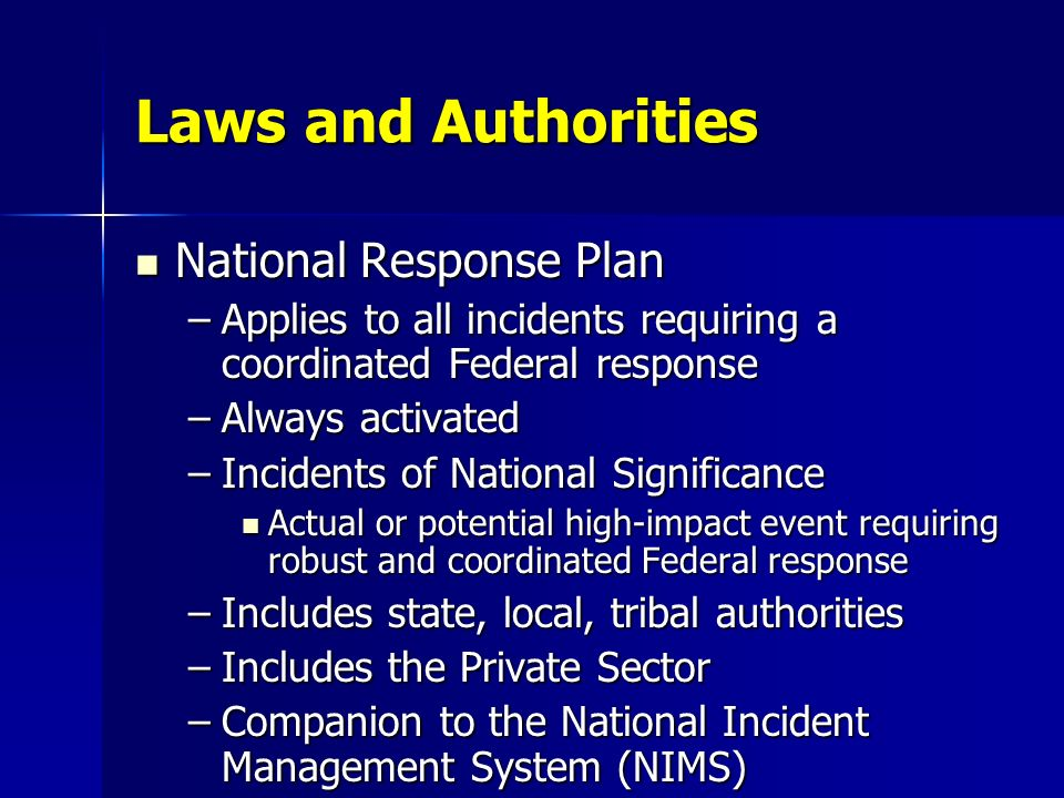 Laws and Authorities National Response Plan