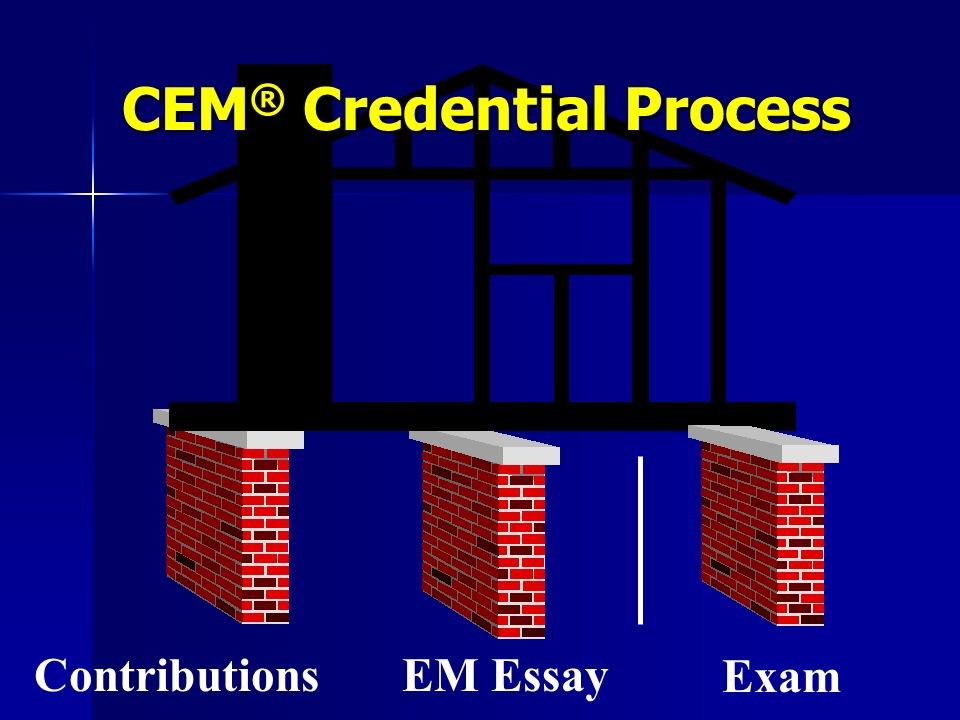 iaem cem essay International association of emergency managers (iaem)  skills and abilities through a required essay, as specified in the instructions included in the application.