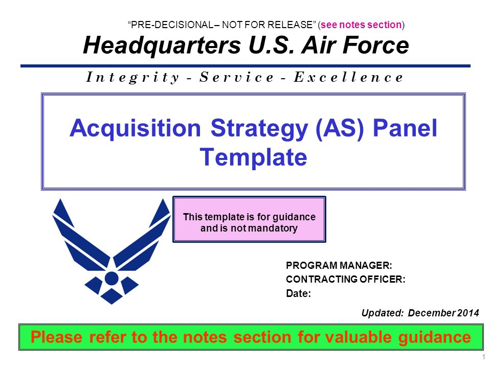 Acquisition Strategy (AS) Panel Template