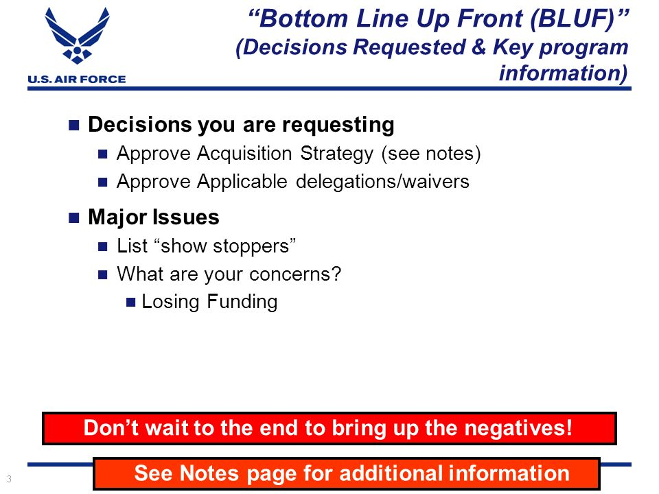 Acquisition strategy as panel template ppt download bottom line up front bluf decisions requested key program information pronofoot35fo Image collections
