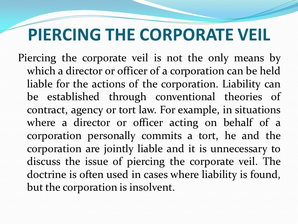 Piercing The Corporate Veil Examples Image Collections Example