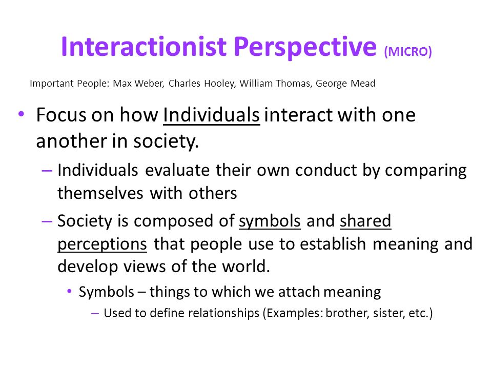 symbolic interactionism examples in society