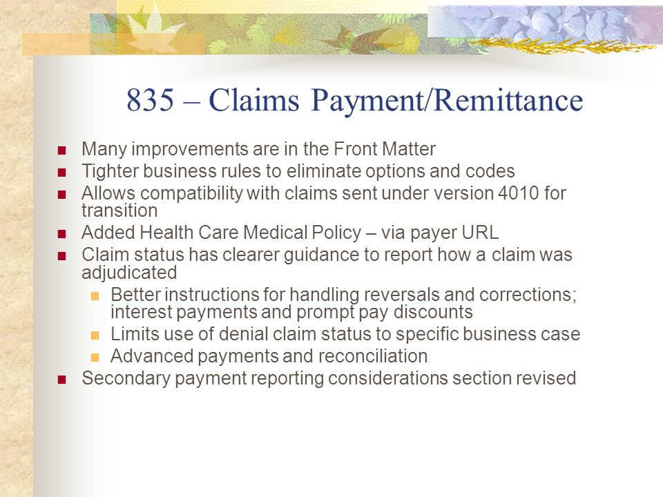 835 – Claims Payment/Remittance