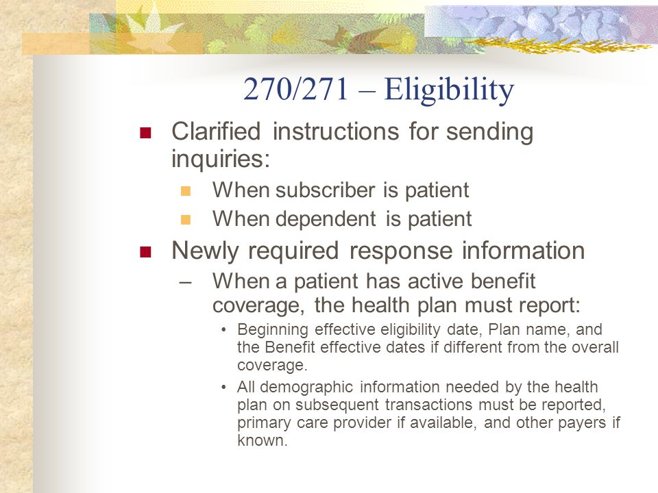 270/271 – Eligibility Clarified instructions for sending inquiries: