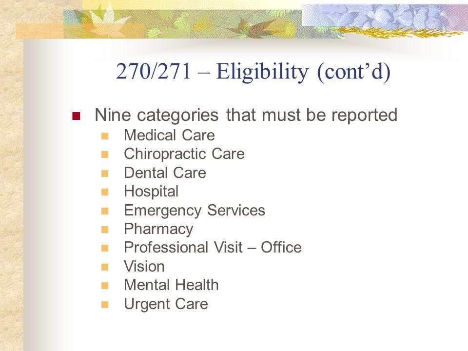 270/271 – Eligibility (cont'd)