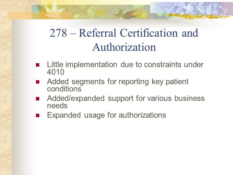 278 – Referral Certification and Authorization