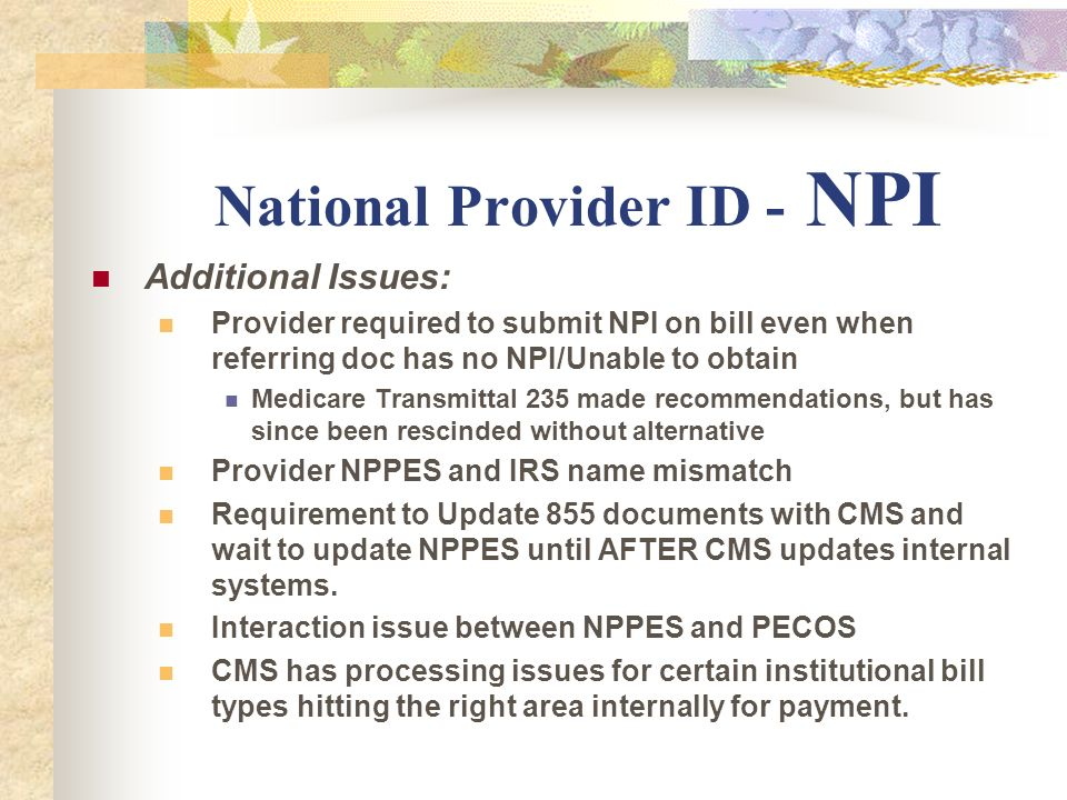 National Provider ID - NPI