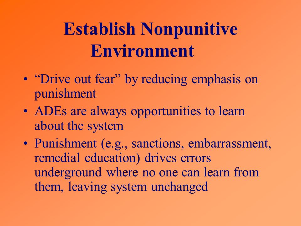 Establish Nonpunitive Environment