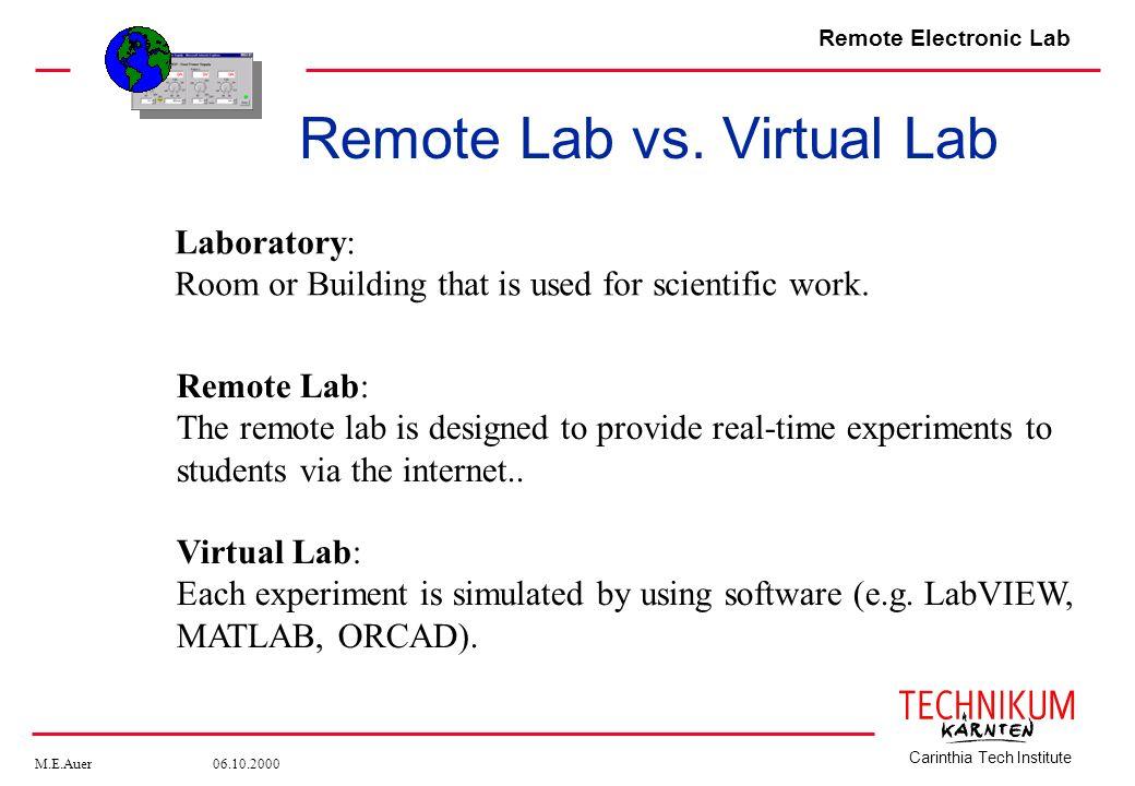 Remote Lab vs. Virtual Lab