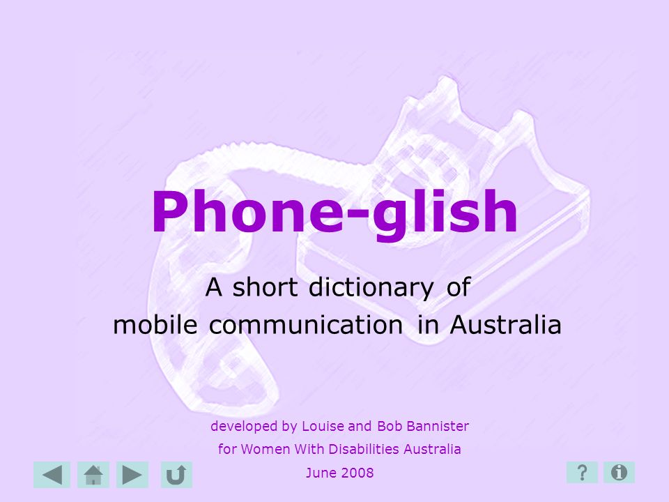 A short dictionary of mobile communication in Australia