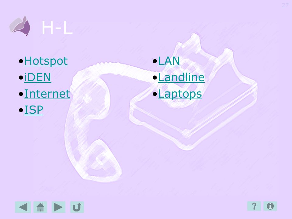 H-L Hotspot iDEN Internet ISP LAN Landline Laptops