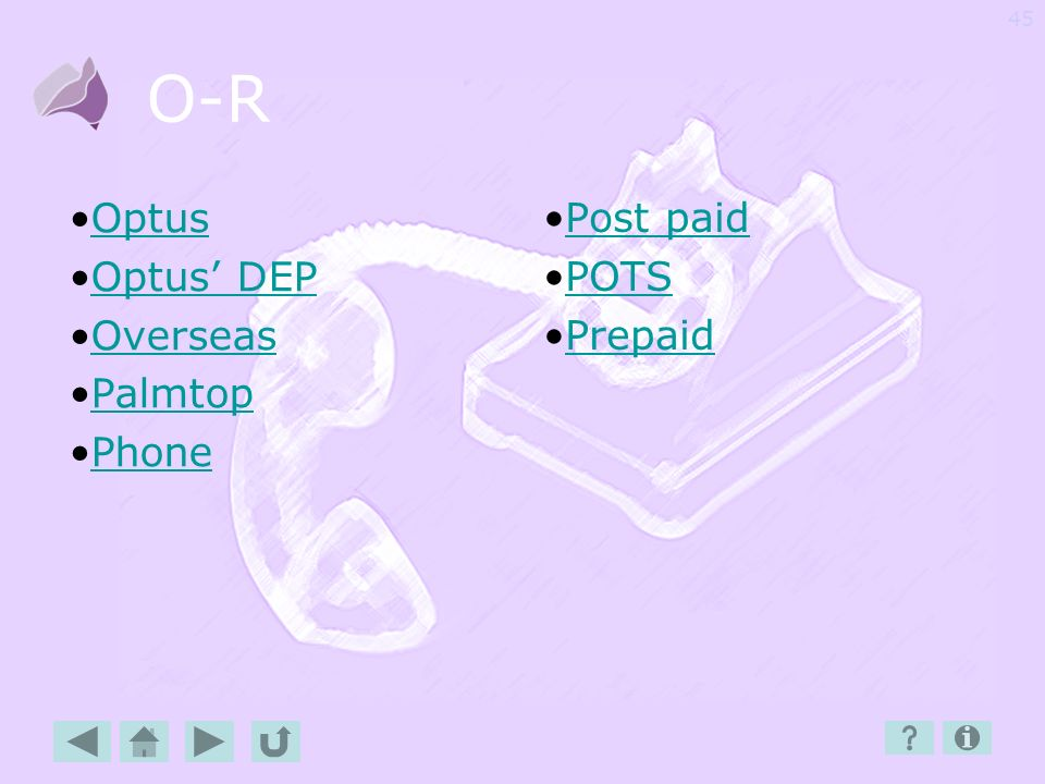 O-R Optus Optus' DEP Overseas Palmtop Phone Post paid POTS Prepaid