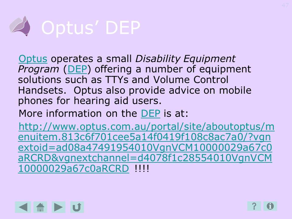 Optus' DEP