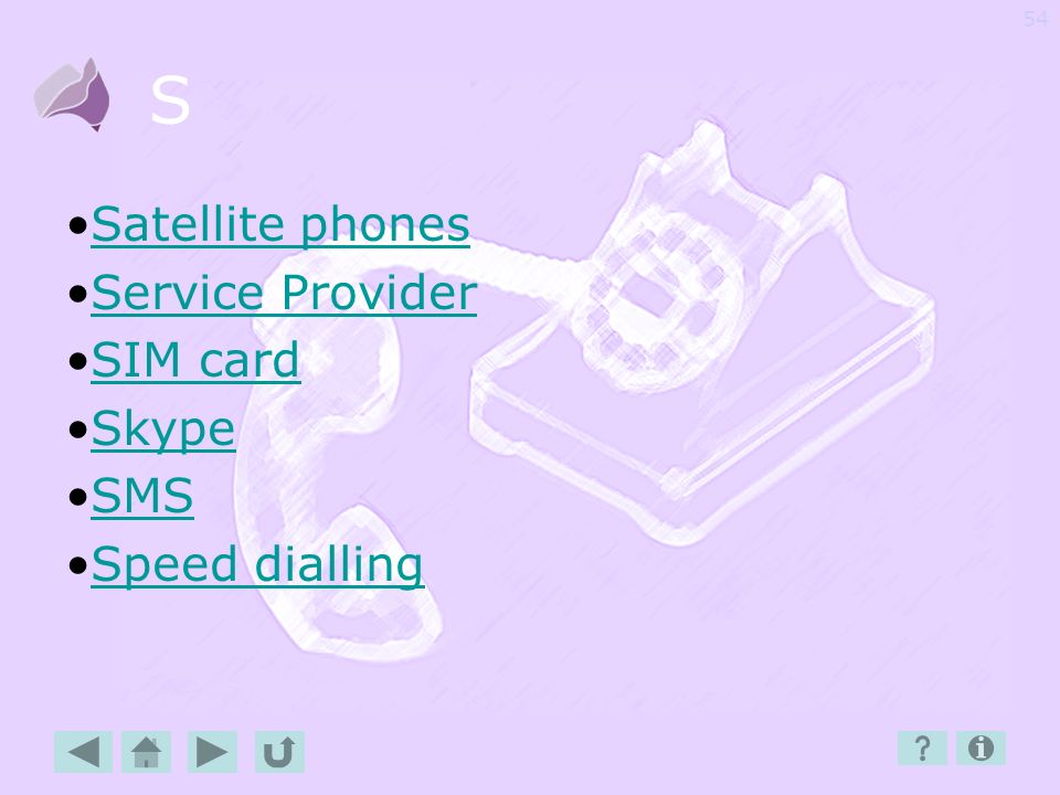S Satellite phones Service Provider SIM card Skype SMS Speed dialling
