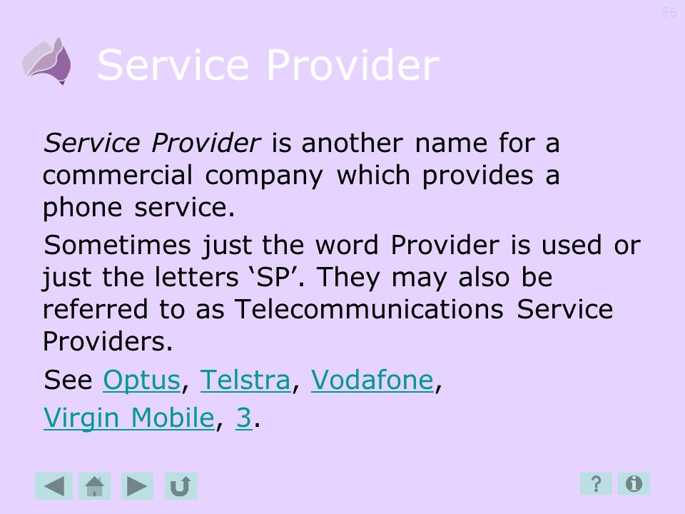 Service Provider Service Provider is another name for a commercial company which provides a phone service.