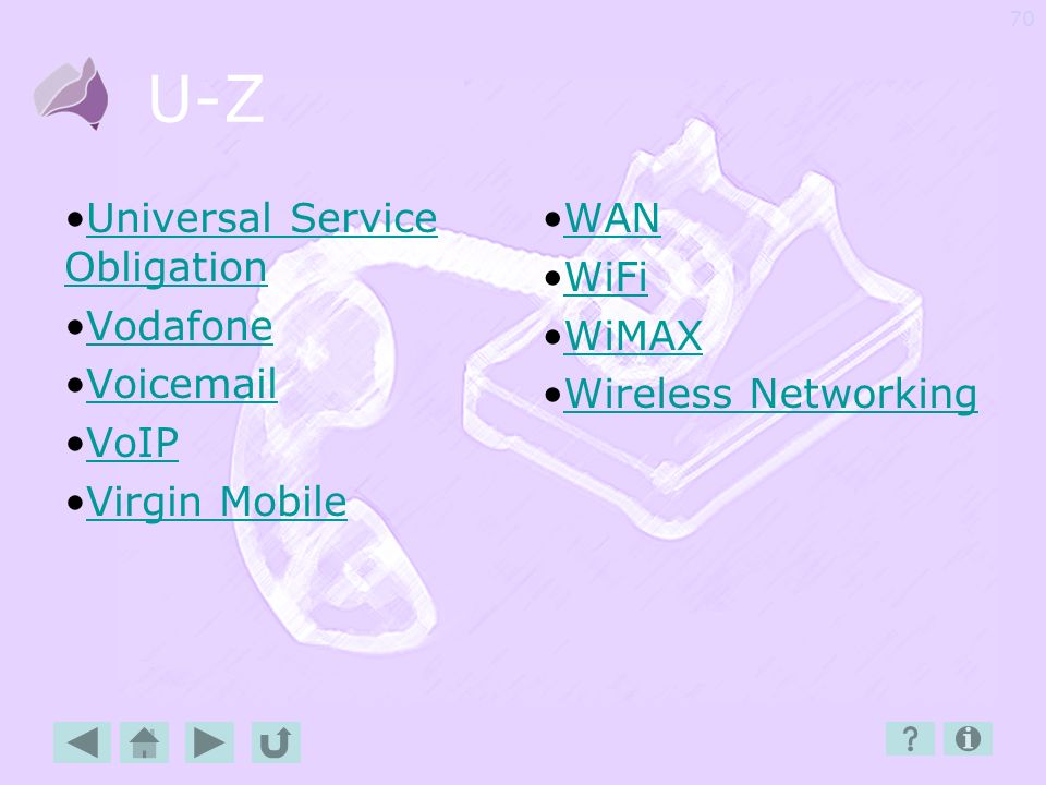 U-Z Universal Service Obligation Vodafone Voicemail VoIP Virgin Mobile