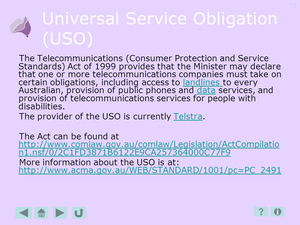 Universal Service Obligation (USO)