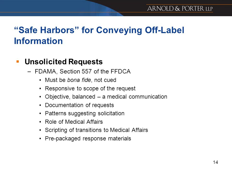 Safe Harbors for Conveying Off-Label Information