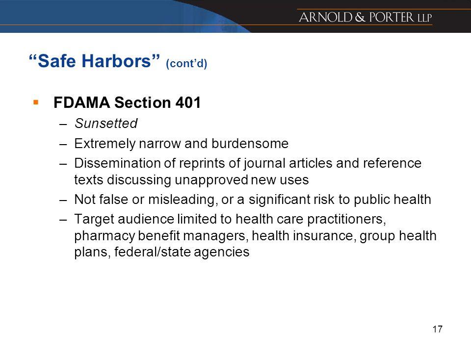 Safe Harbors (cont'd)