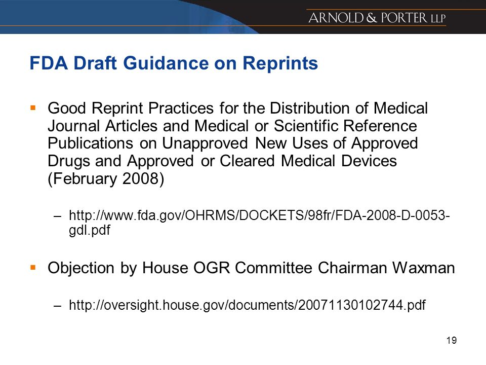 FDA Draft Guidance on Reprints