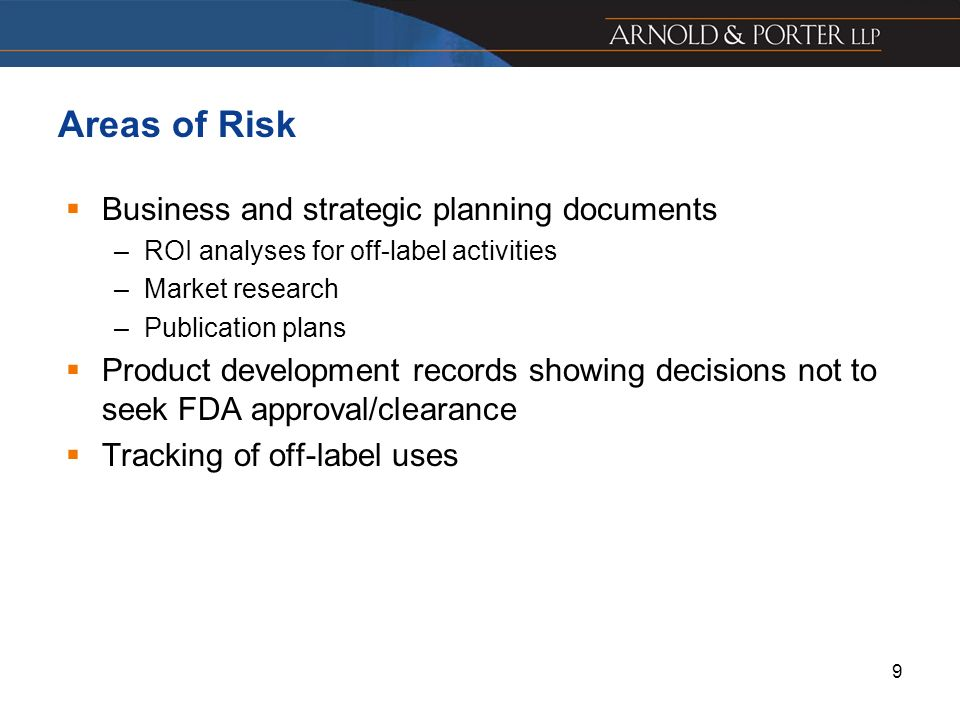 Areas of Risk Business and strategic planning documents