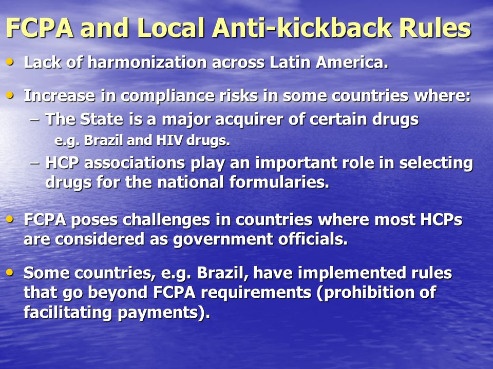 FCPA and Local Anti-kickback Rules