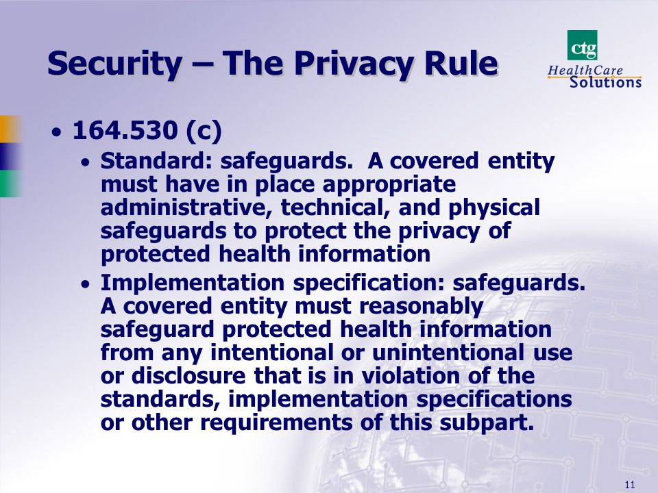 Security – The Privacy Rule
