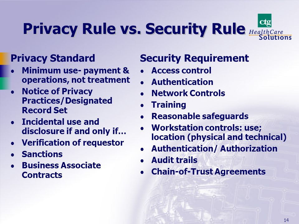 Privacy Rule vs. Security Rule
