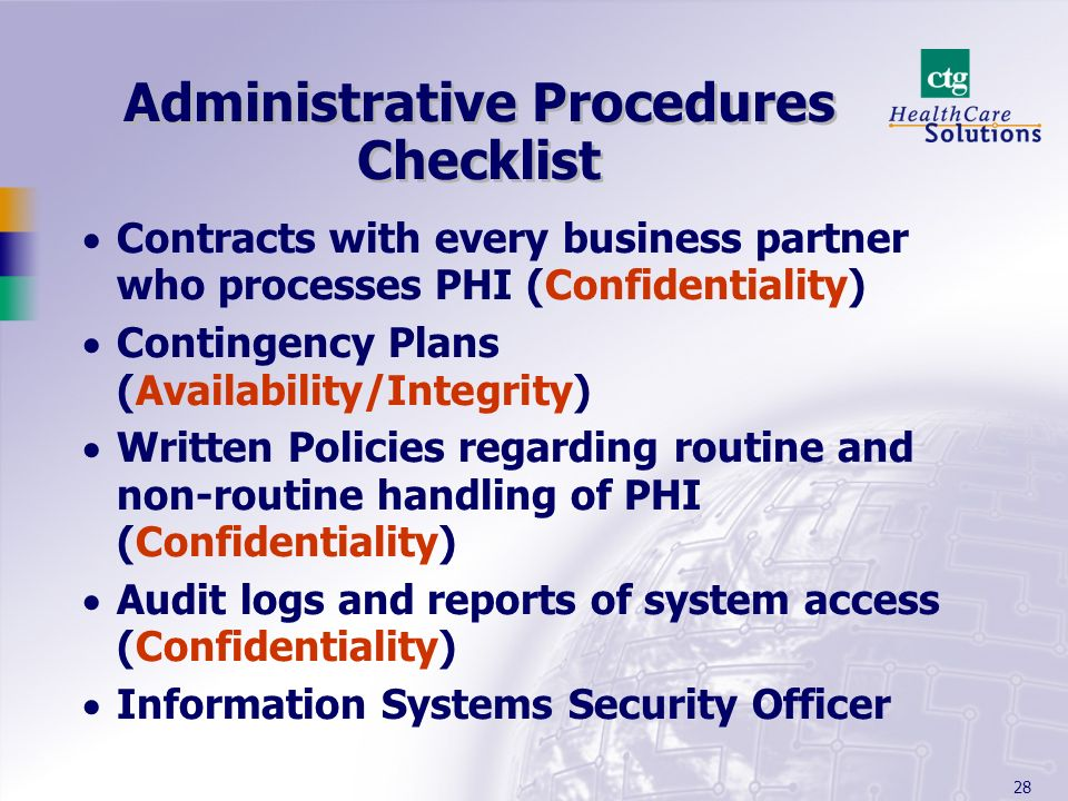 Administrative Procedures Checklist