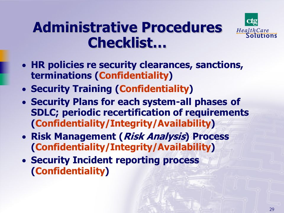 Administrative Procedures Checklist…