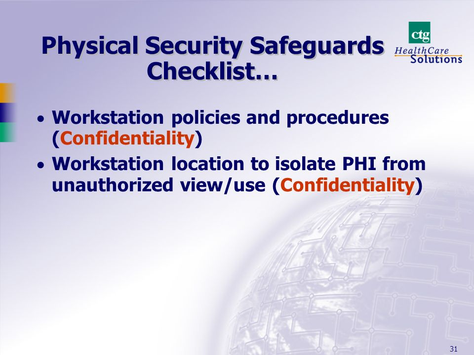 Physical Security Safeguards Checklist…