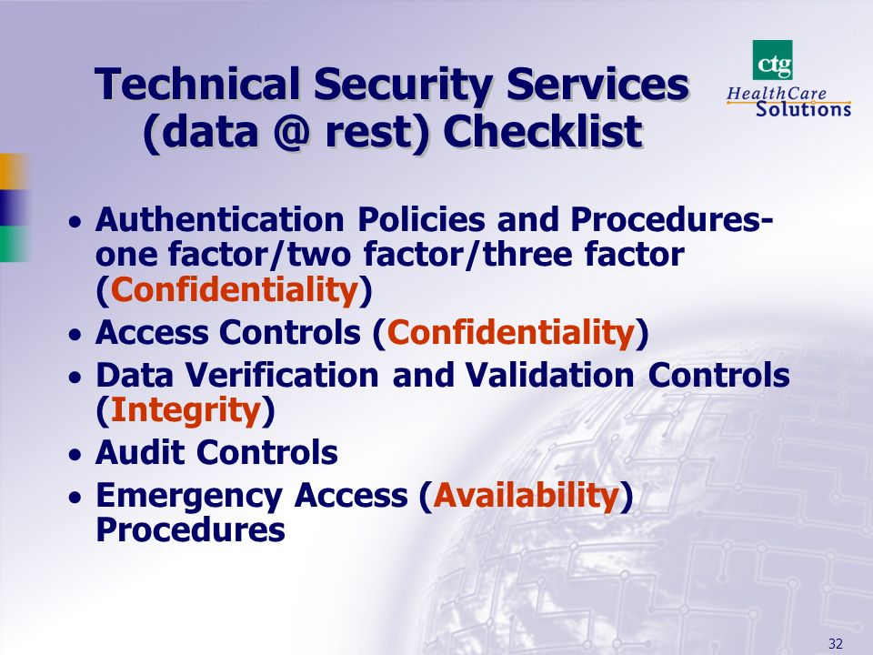 Technical Security Services (data @ rest) Checklist