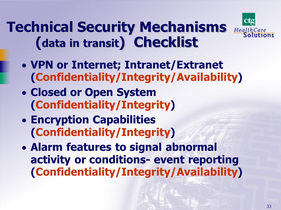 Technical Security Mechanisms (data in transit) Checklist