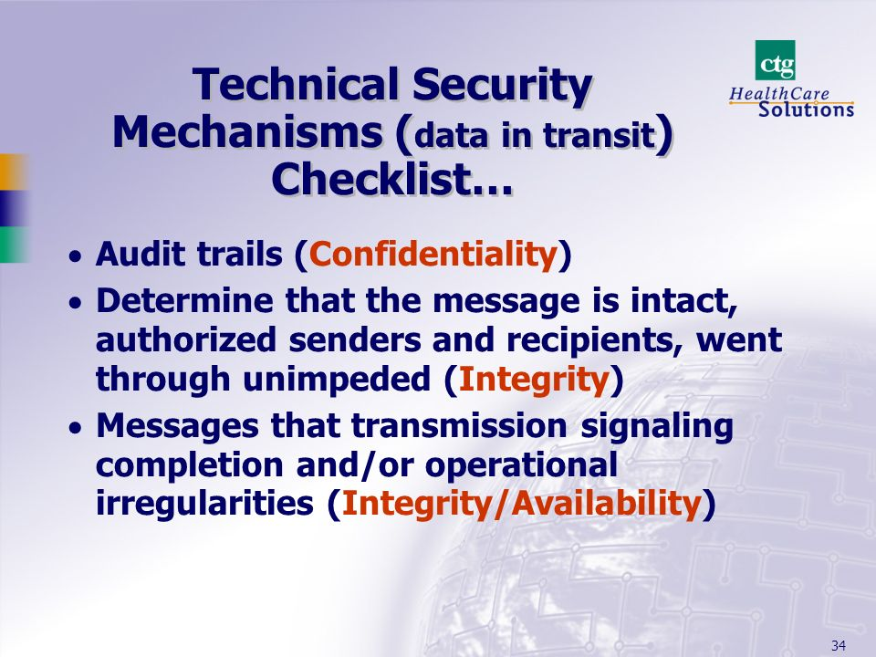 Technical Security Mechanisms (data in transit) Checklist…