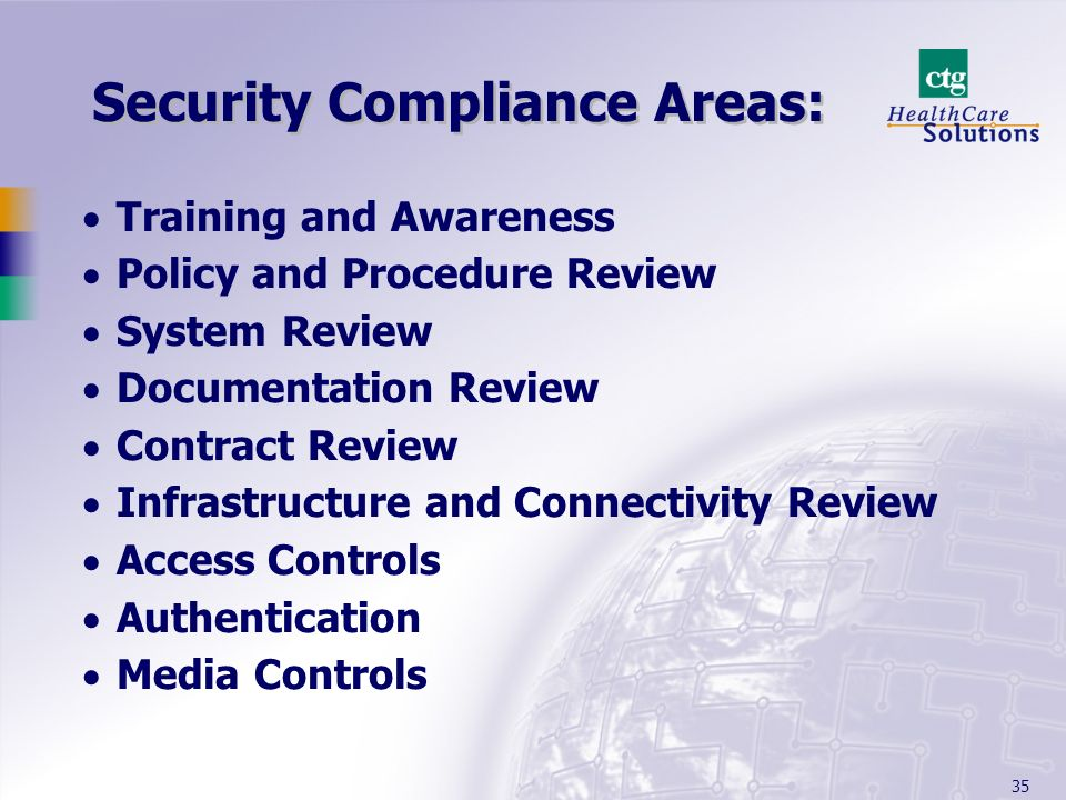 Security Compliance Areas: