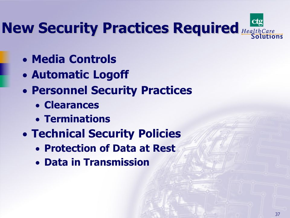 New Security Practices Required
