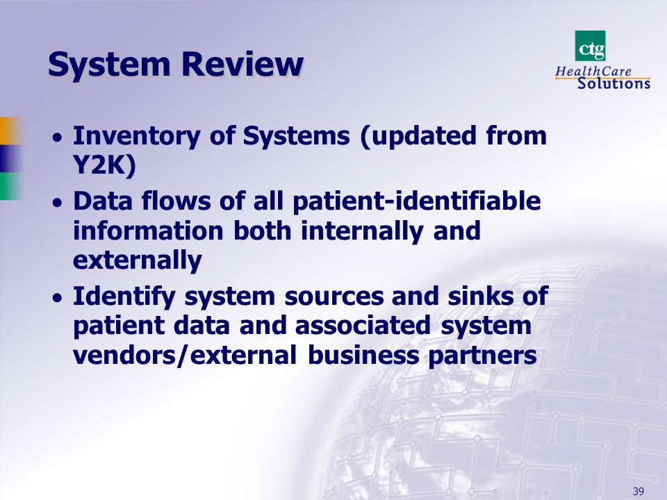 System Review Inventory of Systems (updated from Y2K)